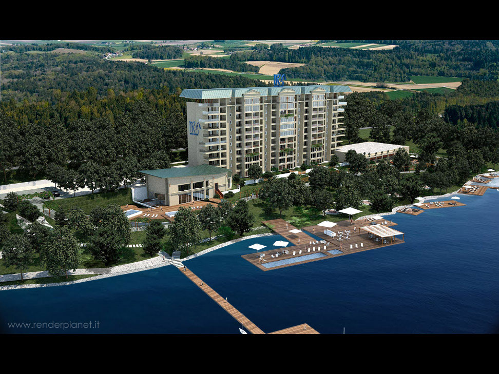 lakeside resort rendering