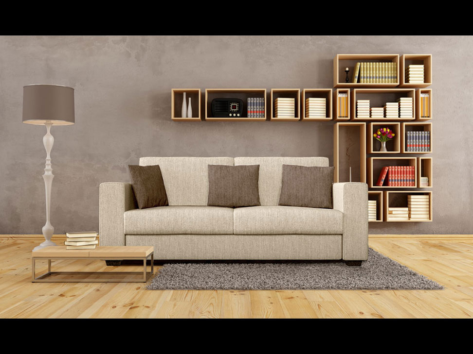 Sofa rendering with photographic background