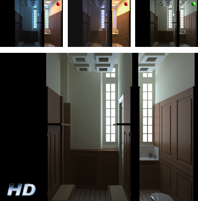 interior rendering - trail version and final version HD