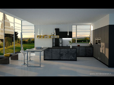 contemporary kitchen rendering